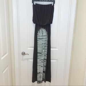 Hippie Love Brown Strapless Tube Maxi Dress Small